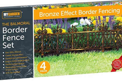 Home Season - 4 Pack of Bronze Effect Garden Border Fencing - Save 86%