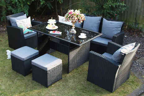 Dreams Outdoors - Black polyrattan furniture set choose from two sizes with an optional rain cover - Save 49%