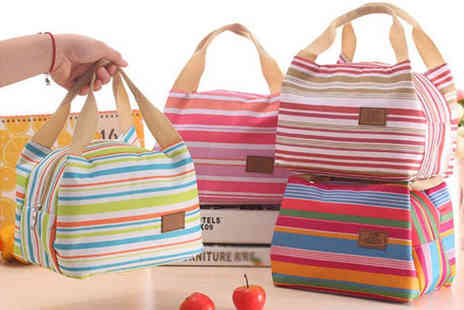 Domo Secret - Insulated striped picnic bag choose between six colours - Save 75%