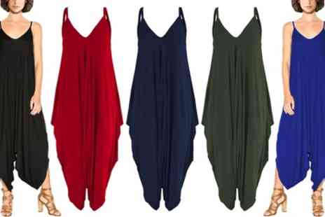 Groupon Goods Global GmbH - Womens Harem Baggy Jersey Romper Jumpsuit in a Choice of Colour - Save 0%