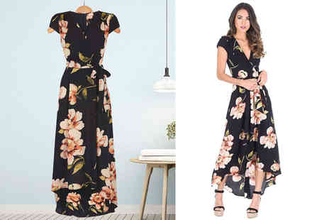 Verso Fashion - Black floral print wrap dress choose from four sizes - Save 67%