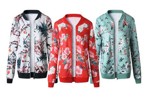 Blu Apparel - Floral bomber jacket choose from three colours - Save 0%