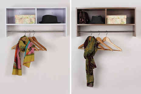 Mhstar - Wall mounted shelf and hanging rail choose from two colours - Save 51%
