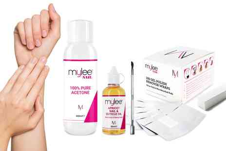 Groupon Goods Global GmbH - Mylee Pure Acetone Nail Polish Remover 600ml or Five Piece Gel Removal Kit - Save 22%