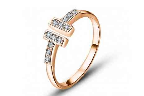 Your Ideal Gift - Adjustable rose gold T ring - Save 88%