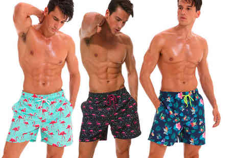 Click In Red - Pair of mens elastic printed swim shorts - Save 57%