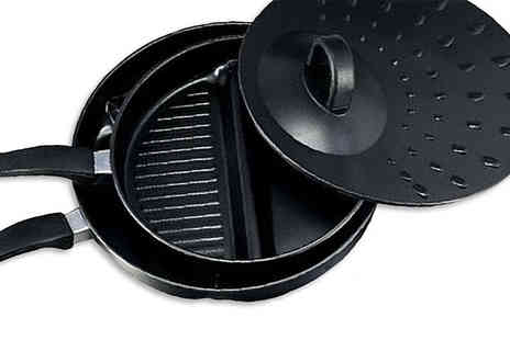 Fusion - Set of 2 Divider Non Stick Frying Pans With Lid - Save 77%