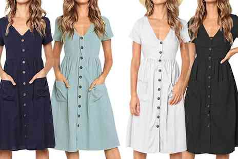 Groupon Goods Global GmbH - One or Two Button Front Summer Dresses in Choice of Colour and Size - Save 0%