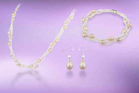 Taylors Jewellery - Pink freshwater pearl jewellery set - Save 89%