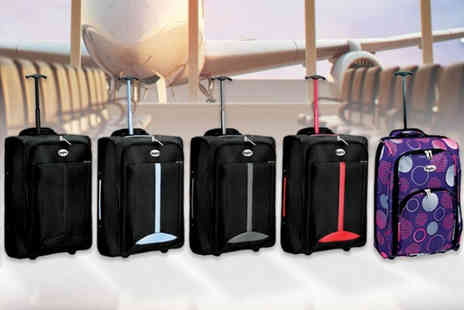 Black Feather - Cabin approved wheelie hand luggage choose from five colours - Save 67%