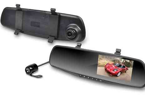 Groupon Goods Global GmbH - Apachie Asoom Dual Lens Mirror Dash Camera with Optional 16GB MicroSD Card - Save 52%