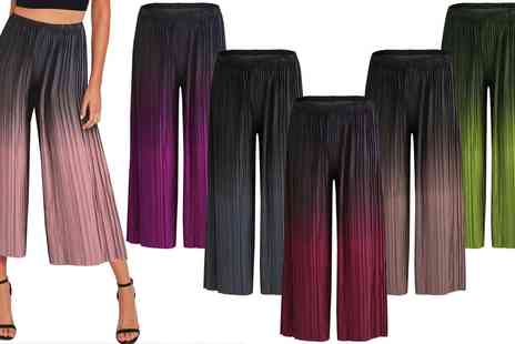Groupon Goods Global GmbH - Womens Dip Dye Pleated Culottes - Save 0%