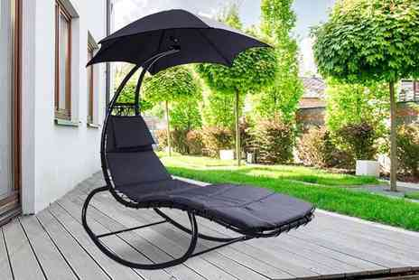 Black Feather - Helicopter sun lounger with parasol - Save 61%