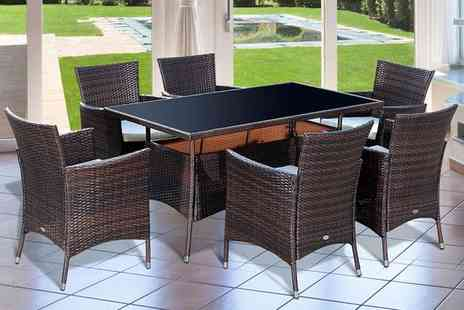 Mhstar - Six seater rattan dining set - Save 67%