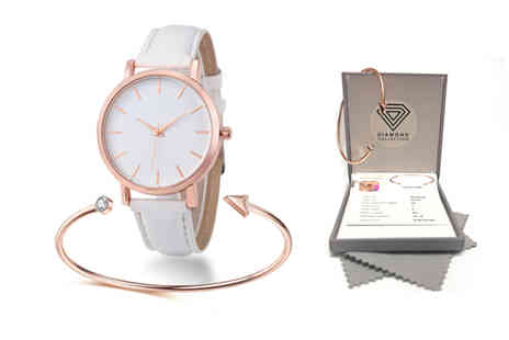 Taylors Jewellery - Arrow bangle and watch set choose from four colours - Save 86%