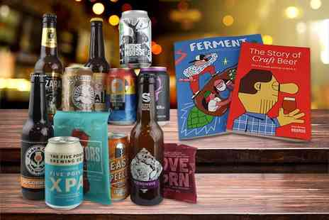 Beer52 - Craft beer hamper including a mix of ten light and dark beers, Ferment magazine and a snack - Save 67%