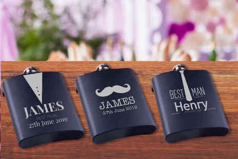Personalised Gifts Market - Personalised stainless steel hip flask choose from 24 designs - Save 68%