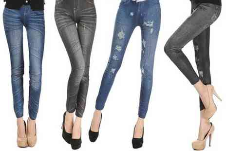 Click In Red - Pack of Four pairs of denim look leggings - Save 81%