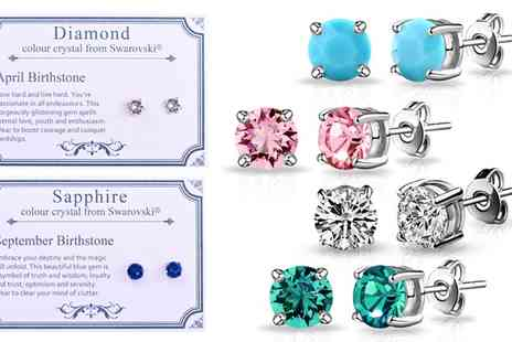 Groupon Goods Global GmbH - Philip Jones Birthstone Earrings in Choice of Design with Crystals from Swarovski - Save 72%