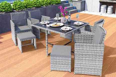 EveMotion GmbH - Eight seater durable polyrattan garden furniture set choose between black, brown and grey while - Save 56%