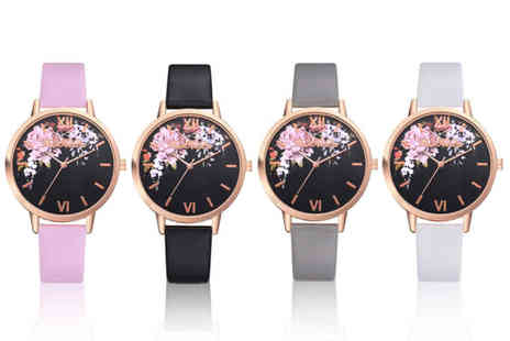 Taylors Jewellery - Floral quartz wrist watch choose from four colours - Save 73%