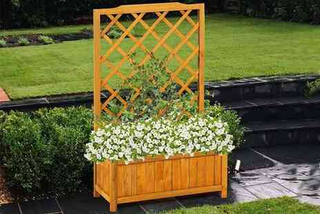 Zoozio - Wooden rectangular planter with trellis - Save 0%