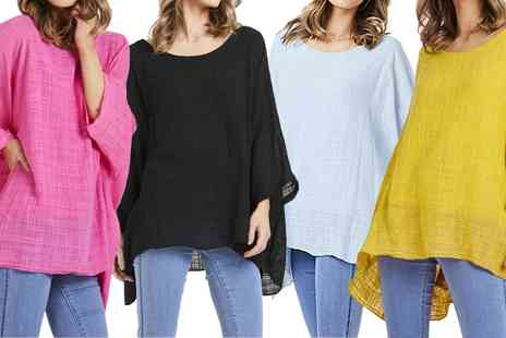 Groupon Goods Global GmbH - Oversized Batwing Linen Top - Save 0%