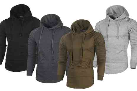 Groupon Goods Global GmbH - Mens Textured Sleeve Benson Hoodie - Save 57%