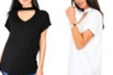 Groupon Goods Global GmbH - Choker Neck Curved Hem Baggy Tshirt - Save 0%