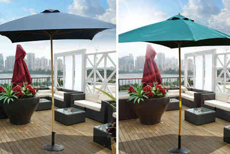 Mhstar - 2 x 3m wooden parasol choose from three colours - Save 0%