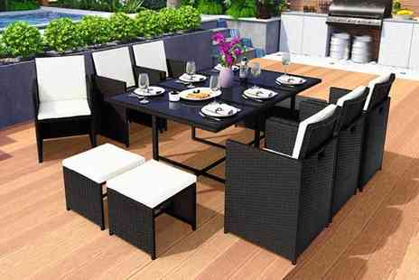Viron Motors - 10 seater durable polyrattan garden furniture set - Save 65%