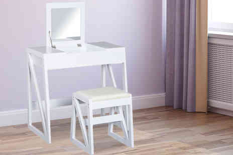 MH Star - White mirrored dressing table with cushioned stool - Save 50%