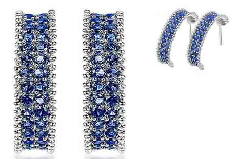 Gemnations - Pair of silver plated blue earrings - Save 87%