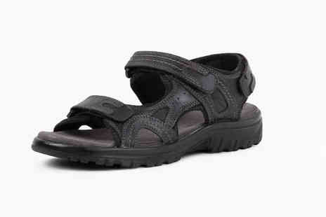 Redfoot - Pair of black leather sports sandals choose from six sizes - Save 75%