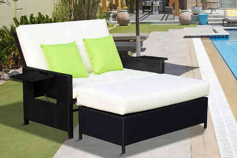 Mhstar - Two seater polyrattan day bed choose from two colours - Save 62%