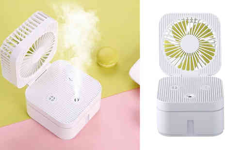 EClife Style - Portable Mini Usb Rechargeable Humidifying Spray Fan Available in Three Colours - Save 60%