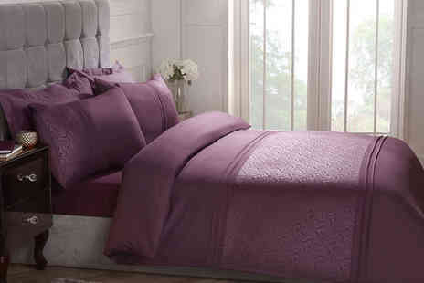 Cascade Home - Embossed swirl duvet set choose from three sizes and two colours - Save 69%