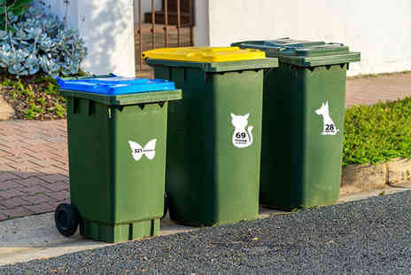 Deco Matters - Set of six personalised wheelie bin stickers - Save 77%