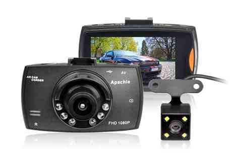 Groupon Goods Global GmbH - Apachie Porto Q Full Hd Dual Front and Rear Dash Cam with Optional 16Gb Msd Card - Save 0%