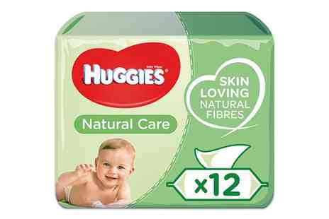 Groupon Goods Global GmbH - 12 or 20 Pack of Huggies Natural Care Baby Wipes Skin Loving Fibres - Save 0%