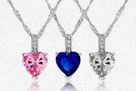 Gemnations - Beautiful heart cut zircon pendant select from three colours - Save 91%