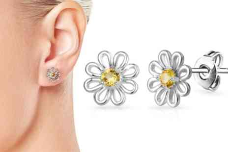 Groupon Goods Global GmbH - One or Two Pairs of Philip Jones Daisy Earrings or Hoops - Save 79%