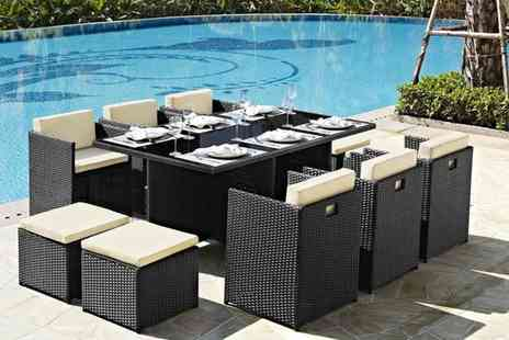 UK Furniture Zone - 11 piece rattan garden furniture set choose between four colours - Save 69%