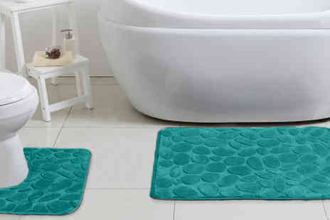 Fusion - Luxury Memory Foam Non Slip Bath Mat Sets Available in 6 Colours - Save 80%