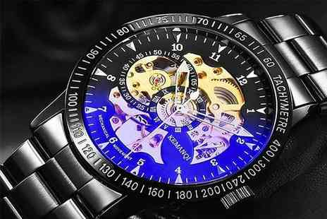 Carter Imperial - Mens stainless steel skeleton watch choose from four designs - Save 88%