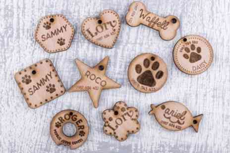Personalised Gifts Market - Up to Three Personalised Wooden Pet Tags - Save 70%