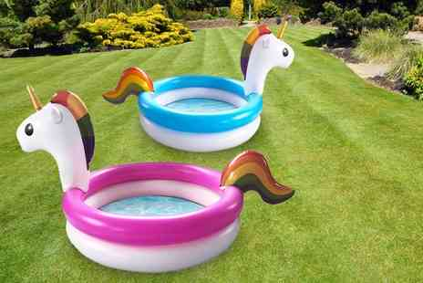 Eurotrade - Inflatable unicorn paddling pool choose from pink or blue colours - Save 63%