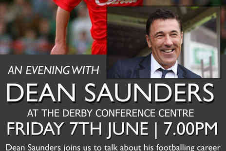 Derby Conference Centre - Overnight stay for two people with breakfast and an evening with Dean Saunders Tickets on 7th June - Save 57%