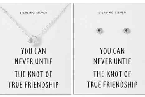 Groupon Goods Global GmbH - Philip Jones Sterling Silver Quote Earrings, Necklace or Set - Save 67%