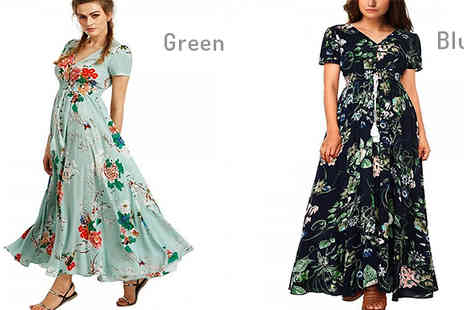 My Blu Fish - V Neck Floral Long Split Dress Available in 6 Colours - Save 80%